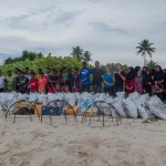 A massive beach clean-up wiht local school kids