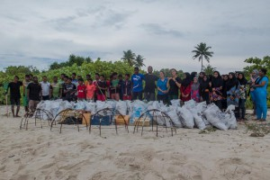 A massive beach clean-up wiht local school kids
