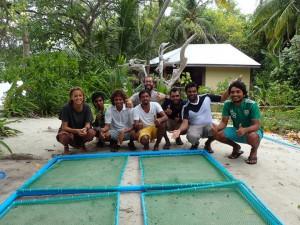 The team on Kudafari with thier new coral nursery